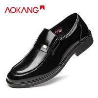 奥康男鞋商务皮鞋男士套脚低帮单鞋真皮皮鞋男