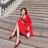 卡贝琳女2019新款秋季气质复古红色连衣裙长袖方领裙子仙女超仙森系小红裙