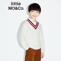 littlemoco秋季新品女童男童羊毛撞色V领学院风儿童羊毛衫针织