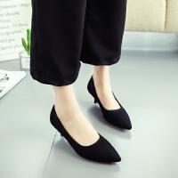 低跟单鞋女3cm尖头细跟矮跟浅口磨砂黑色工作鞋韩版大码职业高跟