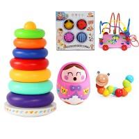 宝宝叠叠乐彩虹塔套圈玩具叠叠圈不倒翁婴儿玩具6-12个月早教益智力
