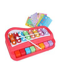 大木琴8音敲琴弹奏小钢琴儿童宝宝音乐乐器玩具八音敲琴 宝丽8音大木琴 公主红色 带乐谱
