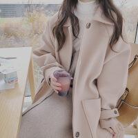 新颖潮牌2019流行新款冬季明星同款毛呢外套女呢子大衣中长款妮子长毛绒羊绒小个子