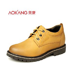 奥康 男士低帮内增高工装鞋休闲皮鞋系带隐形增高耐磨男鞋