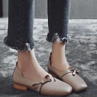 单鞋女2019新款蝴蝶结低跟女鞋浅口玛丽珍鞋复古奶奶鞋粗跟