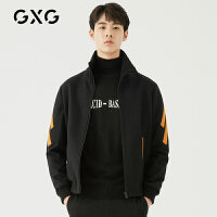 GXG男装 冬季男士时尚帅气黑色韩版潮流上衣翻领夹克外套