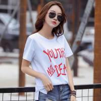 夏季新品时尚棉吸汗宽松大码韩版女士印花t恤上衣女装上衣