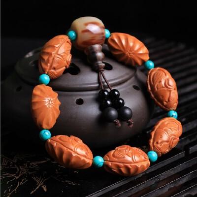 雕刻橄榄核天然高油亮年年有余岁岁平安佛珠手串