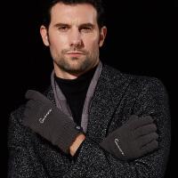 触屏手套男冬天加绒保暖户外双层加厚防风针织毛线商务韩版