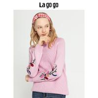 Lagogo/拉谷谷2019冬季新款甜美校园淑女针织衫女HCMM41YH24