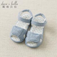 [2件3折价:78.9]davebella戴维贝拉夏季新款男女童露趾卡通布凉鞋 宝宝魔术贴鞋子