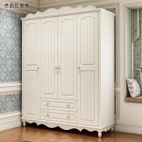 韩式田园衣柜实木带抽衣柜两门三门四门白色衣柜 欧式衣柜 荷白色