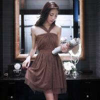 网纱挂脖连衣裙女夏装2019新款女装性感抹胸显瘦气质心机裙子 咖啡色