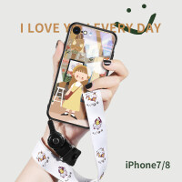 苹果iPhone8手机壳7Plus玻璃卡通8插画女款iPhone6可爱7p文艺6s防摔8p全包新