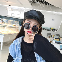 PU皮质贝雷帽女夏季薄款英伦复古秋冬韩版日系网红款鸭舌八角帽子