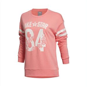 李宁卫衣女士运动生活系列秋季套头衫长袖圆领宽松针织运动服AWDK702