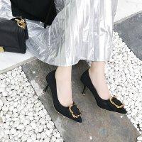 秋单鞋女2018新款浅口方扣细跟中跟5cm高跟鞋尖头工作正装单鞋ol