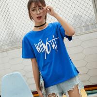短袖女新款棉圆领宽松t恤女韩版印花bf风体恤学生半袖上衣