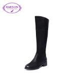 【秋冬新款 限时1折起】哈森冬季羊皮革高跟靴子 舒适粗跟褶皱时尚短靴女HA87127