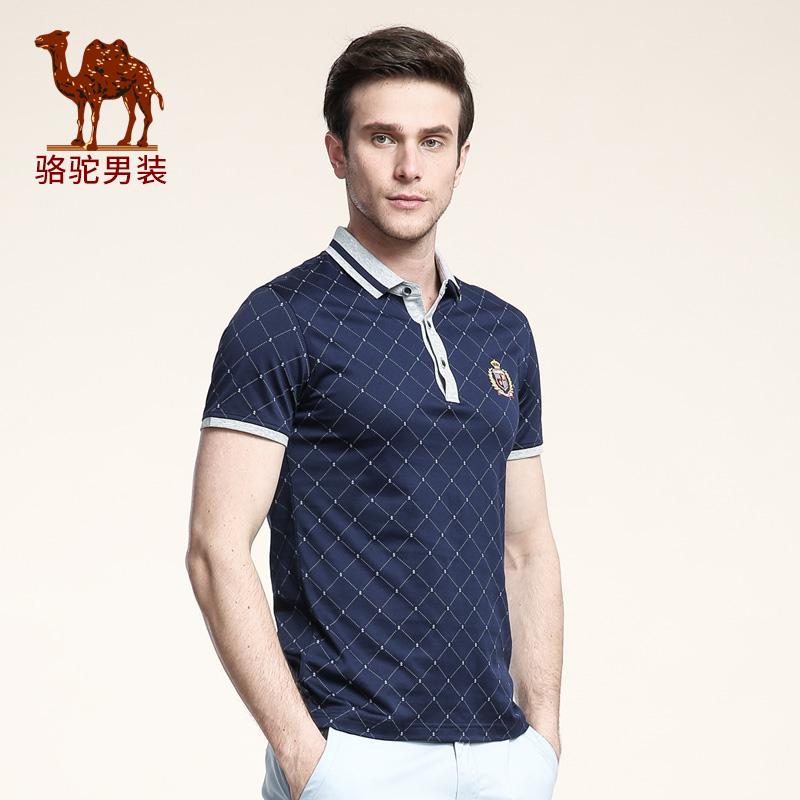 骆驼男装 夏季新款微弹翻领绣标格子商务休闲短袖T恤衫 男士