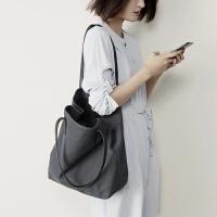 韩版文艺帆布包单肩包学院风简约百搭潮女大包包休闲子母包购物袋