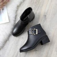 中年短靴子女鞋加绒保暖粗跟女士皮鞋中老年人妈妈棉鞋