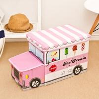 儿童玩具收纳凳子储物凳可坐多功能折叠椅创意宝宝卡通整理箱神器 粉红色 带头冰淇凌车 儿童玩具收纳凳