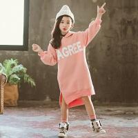 儿童卫衣 女童连帽卫衣新款冬装2020中大童女孩韩版抓绒衣女童韩版加绒套头衫