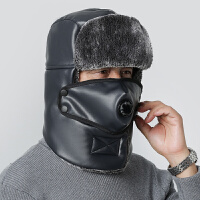 中老年秋冬季爸爸雷锋帽子男围脖一体骑车保暖护耳冬天老人防寒帽
