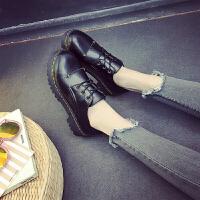 秋季新款黑色小皮鞋初中高中学生英伦学院风女鞋复古平底圆头单鞋 黑色 506