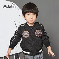 【秒杀价:95元】马拉丁童装男小童夹克秋新品趣味绣标装饰时尚儿童外套