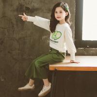 女童套装 女童牛油果套头衫阔腿裤子2020春秋洋气韩版中大童长袖上衣卫衣两件套