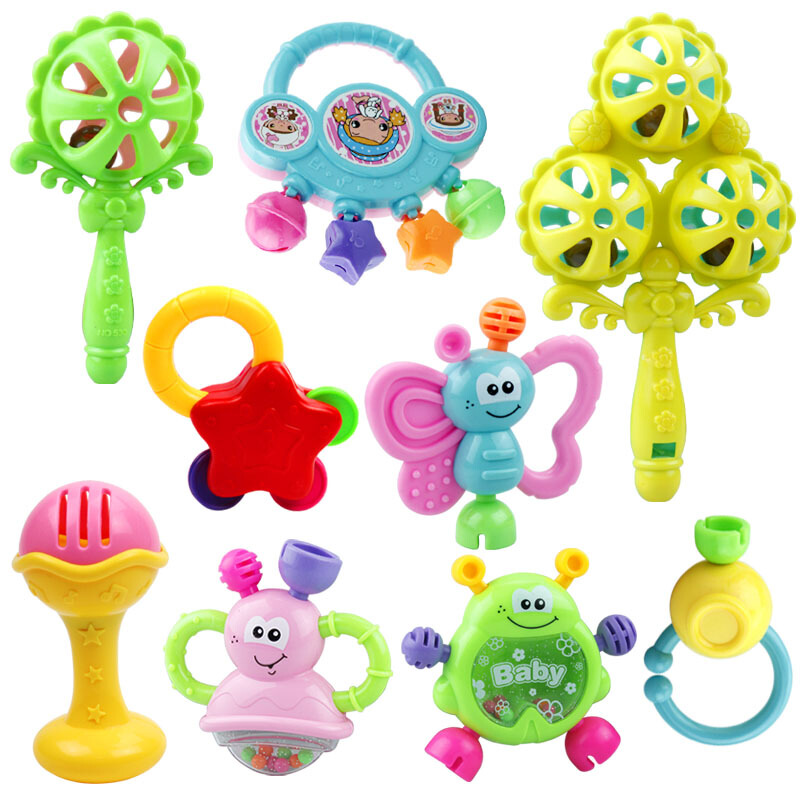 小孩牙咬胶牙胶半岁2儿童手拿玩具摇铃几个月宝宝的玩具0-1岁 多买优惠