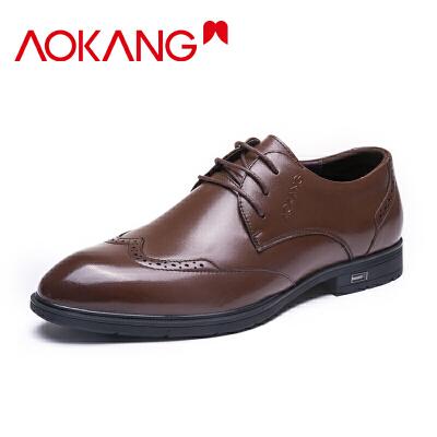 奥康男鞋布洛克雕花皮鞋真皮商务正装男士潮鞋英伦风鞋子男单鞋