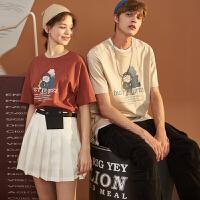唐狮2019夏季新款情侣装夏装短袖T恤男韩版卡通图案纯棉半袖女潮