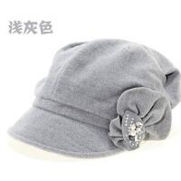 新款百搭时尚女帽子韩版水钻珍珠花饰时装帽女
