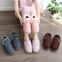 羽绒布防水棉拖鞋包跟情侣厚底大码男士居家鞋女月子保暖棉鞋