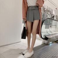 毛呢短裤女秋冬季2018新款宽松黑色裤子高腰显瘦裙裤打底外穿靴裤