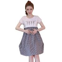 孕妇夏装连衣裙2018新款可哺乳上衣孕妇中长款宽松外出喂奶裙子潮