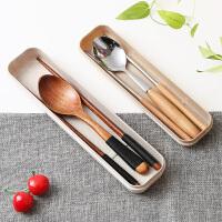 筷子勺子套装学生成人儿童日韩式三件套木质不锈钢旅行便捷餐具