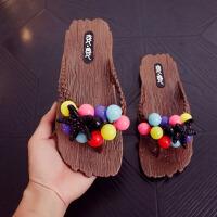 凉拖 女士时尚海边度假沙滩鞋女式夏季新款夹脚人字拖平底防滑浴室学生葡萄拖鞋