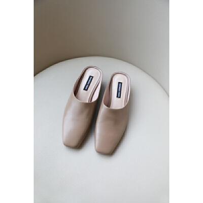 chic包头拖鞋女外穿2019网红款百搭方头粗跟懒人穆勒鞋真皮凉拖鞋
