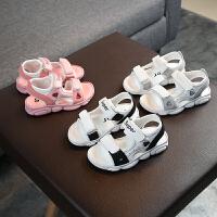 夏季新款儿童休闲凉鞋男童鞋露趾沙滩鞋女童鞋子小熊底宝宝鞋