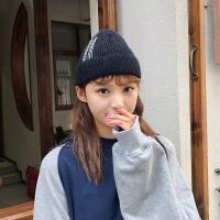 英文字母针织毛线帽子女秋冬季韩版冬天保暖百搭瓜皮地主冷帽