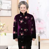 中老年女装冬装新款奶奶装棉衣老年人大码妈妈装绒裤金丝绒套装