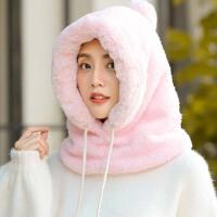 帽子女秋冬韩版套头围脖一体帽加绒加厚骑车护耳帽可爱学生包头帽