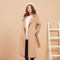 羊毛呢子大衣女冬装优雅长款过膝风衣气质学生西装外套