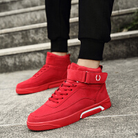 网红同款鞋男鞋冬季潮鞋2018新款休闲高帮鞋韩版潮个性百搭板鞋红