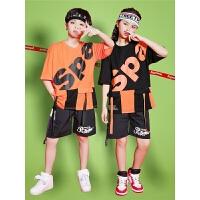 少儿街舞套装演出服男童夏季宽松短袖儿童街舞服装表演服