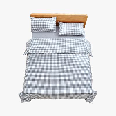 当当优品家纺 纯棉日式色织水洗棉床品 1.8米床 床笠四件套 格子钴蓝当当自营 MUJI制造商代工